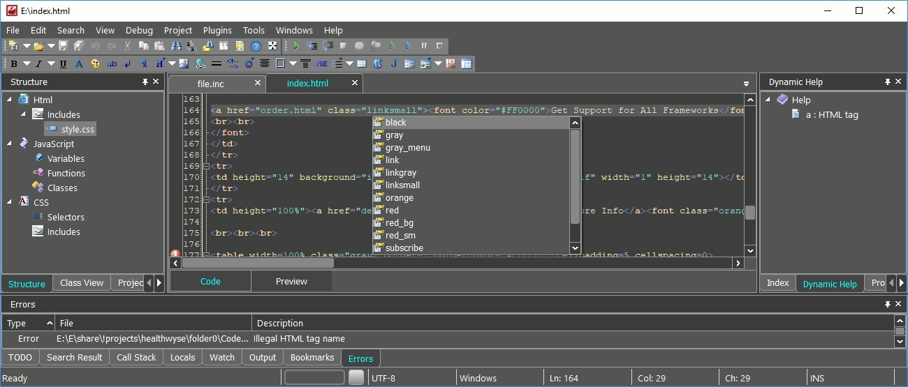 CodeLobster IDE - бесплатный редактор